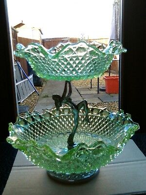 Sowerby naked lady green glass 2 tier cake/fruit stand.