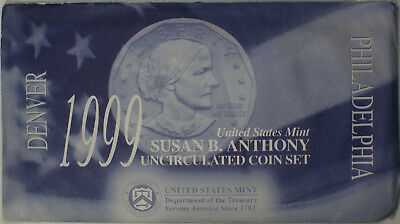 1999 Susan B. Anthony $1 Dollar Coin Mint Set with COA Uncirculated
