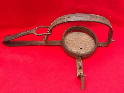 Old Vintage Antique Hand Forged Iron Single Spring Trapper's Trap