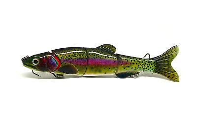 "6.5"" Multi Jointed Bass Pike Muskie Fishing Lure Bait Swimbait Life-like Rainbow"