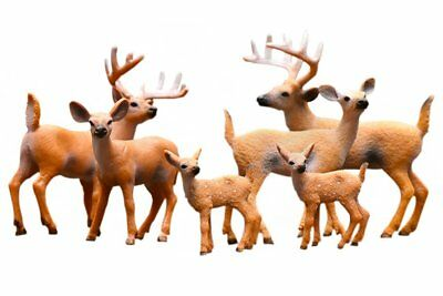 Miniature Deer Family Toy Figurines Set,White-Tailed 2 Bucks, 2 Does and 2 Fawns