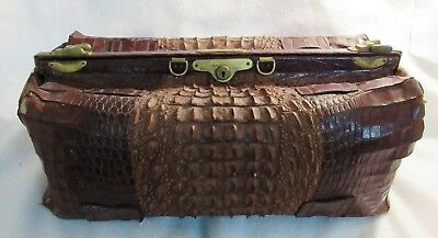 "Great Old Very Large Antique Alligator Doctors Bag Or Luggage 25"" Long"