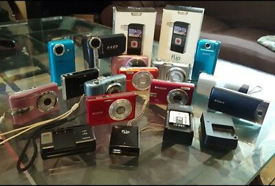 Lot Of 15 Mixed Digital Cameras + Camcorders *working* Sony Samsung Kodak Canon