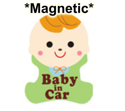 *US SELLER* MAGNETIC Reflective Baby on Board in Car Safety Sticker Sign Boy Guy