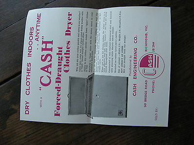 Cash Forced Air Cloths Dryer Pamphlet