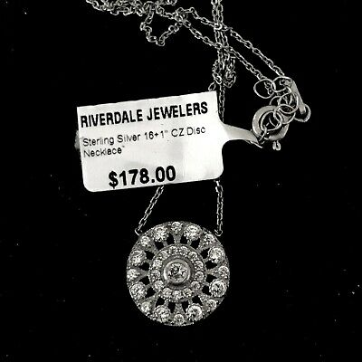 Sterling Silver Rhodium Plated Pave Set Clear CZ Disk Flower Necklace !