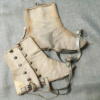 Vintage 1920's Original Spats white ivory canvas and leather, wearable condition