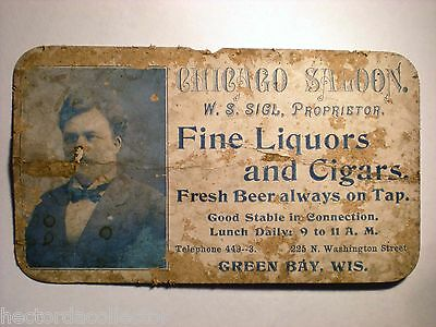 "Pre-1899 Victorian Trade Card ""Chicago Saloon"" Fine Liquors Cigars Green Bay Wis"