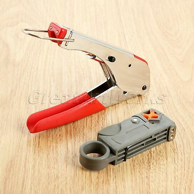 Adjustable Steel Coax Cable Crimper Coaxial Compression Tool Kit Wire Stripper