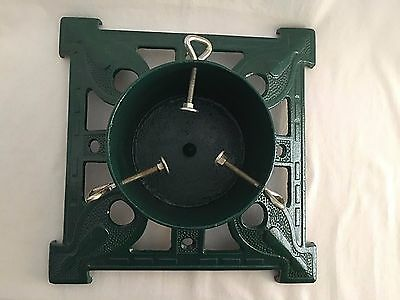 "Cast Iron Christmas Tree Stand Heavy Green 15""x15"" Vintage Ornate"