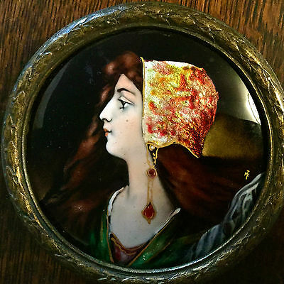 Antique Franch Hand Painted Enamel Plaque Of Younge Woman,bronze Frame,beautiful
