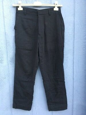 "29"" ankle cut Softest Cotton! High waisted black womens trousers welt pockets"