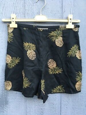 "10 30"" High Rise 100% Silk Shorts Pineapple print side zip"