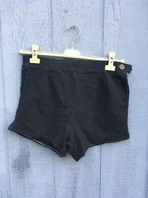 "30"" Ultra high rise Shorts handmade couture. black linen weave. side zip pocket."