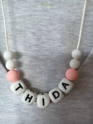 Silicone Necklace Personalised Name Sensory Beads Aus Gift Was Teething