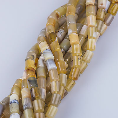 """10x14mm Light Yellow Natural Ocean Chalcedony Agate Bucket Beads Strand 16"""""""