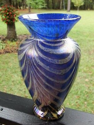 Jan Zeman 8 1/2 Inch Pulled Feather Glass Bohemian Art Vase