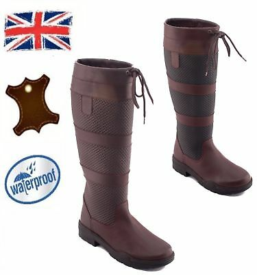 Ladies Men Horse Riding Yard Winter Stable Water Resistant Leather Country Boots