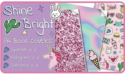 Shine Bright Slip-On A4 School Book Covers - 6 pack