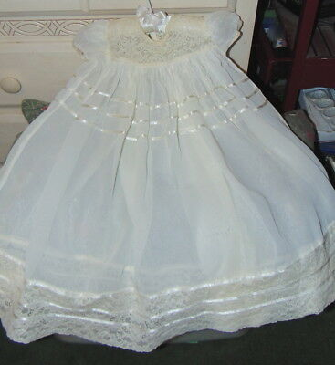 Vintage Baby Christening Gown Infant Dress Lace Satin Ribbons Sheer White VGC