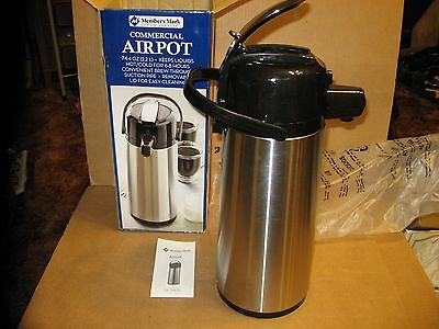 NEW In Box Commercial Airpot 2.2L (74.4 Oz) Stainless Steel Pumper Coffee Pot Lg