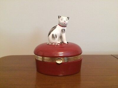 Fitz And Floyd Hinged Cat Box Oval White Cat With Spots Japan 1985