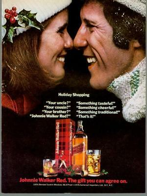 1976 Johnnie Walker Red Christmas Holiday Tinsel Alcohol Vintage Print Ad 1970s