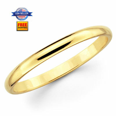 Thin Yellow Gold Plated Stainless steel 2mm Wedding Band Ring Size 5-13