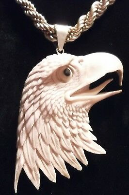 CARVED MOOSE ANTLER AMERICAN EAGLE NECKLACE+PENDANT+STERLING CHAIN Patriotic