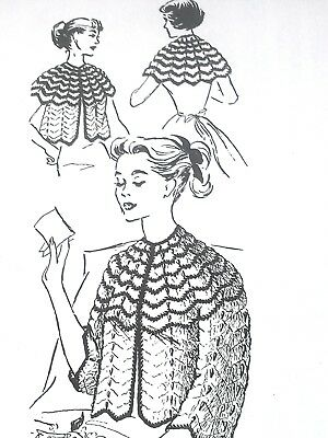 7102 Vintage Design BED JACKET 3 WAYS Pattern to Crochet (Reproduction)