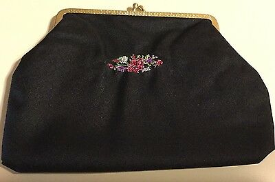Vintage Black Cosmetic Bag/Purse Embroidered