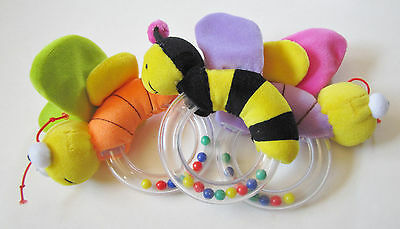 Plush Bug Crinkle Rattle with Plastic Handle with Beads NWOT