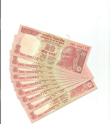 India Rs. 20 Same Prefix 58-C 000110 To 000990 (9 Notes)