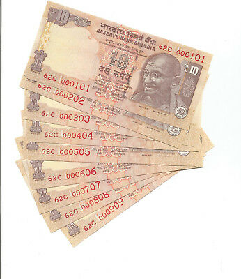 INDIA 10 RUPEES 62-c 000101 TO 000909 (9 NOTES)
