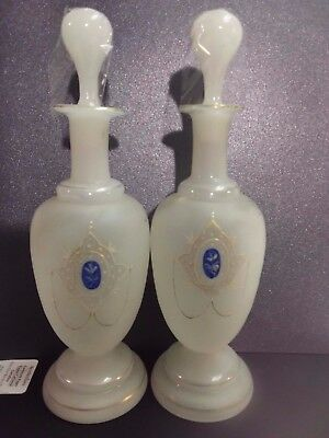 Vintage Bristol Hand Blown Glass Genie Bottle Vases marked 45