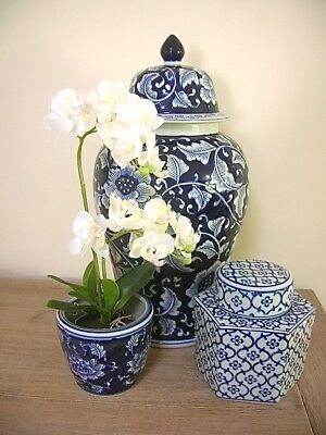 Pretty Blue And White Hamptons Style Planter & Artificial Orchid Phalaenopsis