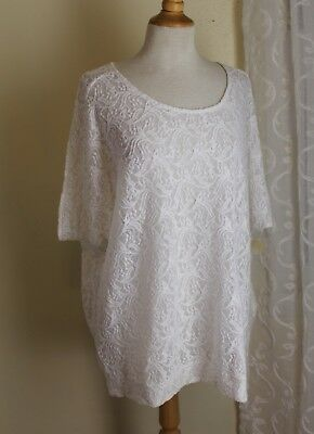 NWT Coldwater Creek -Sz 1X Soft White Romantic Lace Floral Long Tunic Knit Top
