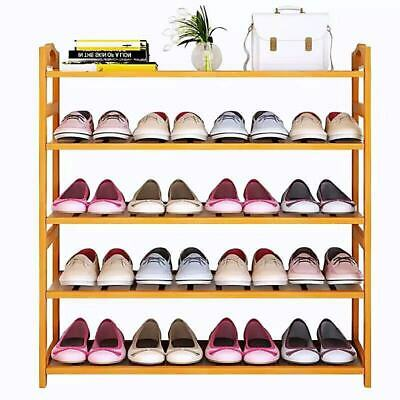 5 Tiers Bamboo Shoe Rack Storage Organiser Standing Shoes Shelves Clear Coated A