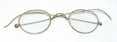 Antique Vintage Silver Tone Child's Boy's Girl's Round Wire Rimmed Eye Glasses