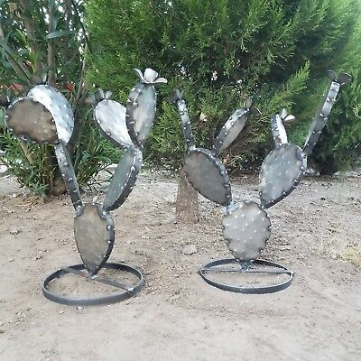"Metal Garden Yard Art -TWO 17"" Flowering Prickly Pear Cactus Plants - UNPAINTED"