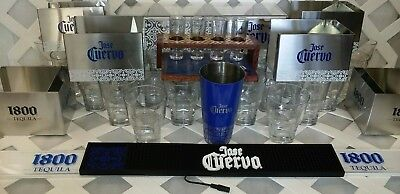 super lot Jose Cuervo Stainless Steel Bar set, glasses,lights, free shipping