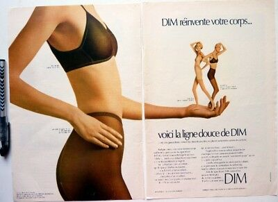 DIM PANTYHOSES BRA => 2 pages 1970 vintage FRENCH print ad CLIPPING ! HOSIERY