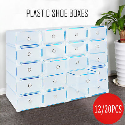 12/20pcs Stackable Foldable Clear Shoe Storage Cases Drawer Boxes Home Wardrobe