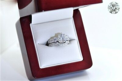 2 Pieces Brilliant Cut set Wedding & Engagement Rings Sterling Silver