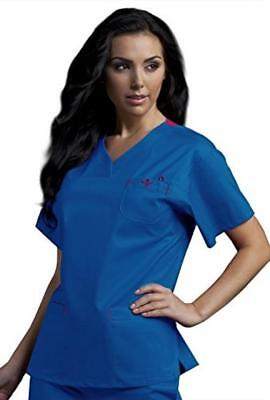 Med Couture Women's Sport Neckline Solid Scrub Top X-Small Royal/PaSSion Pink