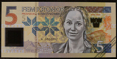 5 kronor Sofia Helin/uncirculated polymer proposal banknote design 2017