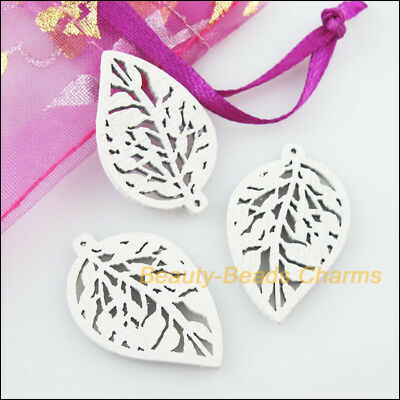 40 New Charms White Wooden Tree Leaf Craft Pendants 19x29mm