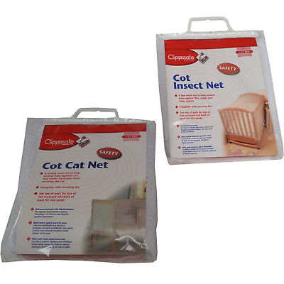 Clippasafe Cot Cotbed Cat Net Insect Net Protection Bed Netting White BNIB