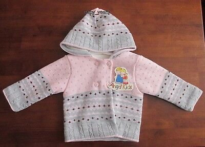 Baby Spanish Hooded Chunky Cardigan Knitted Girls Fleece Lined Jacket 0-9