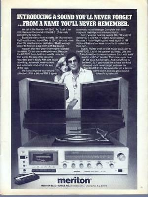1976 Meriton HF-2105 Stereo Radio Turntable Home Audio Vintage Print Ad 1970s